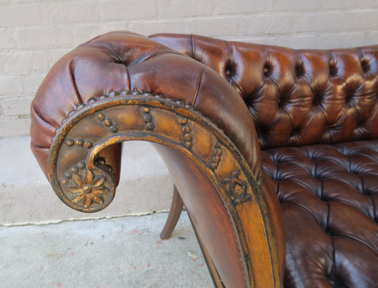 Early 20th Century French Regency Style Carved Leather Tufted Sofa, circa 1920s For Sale