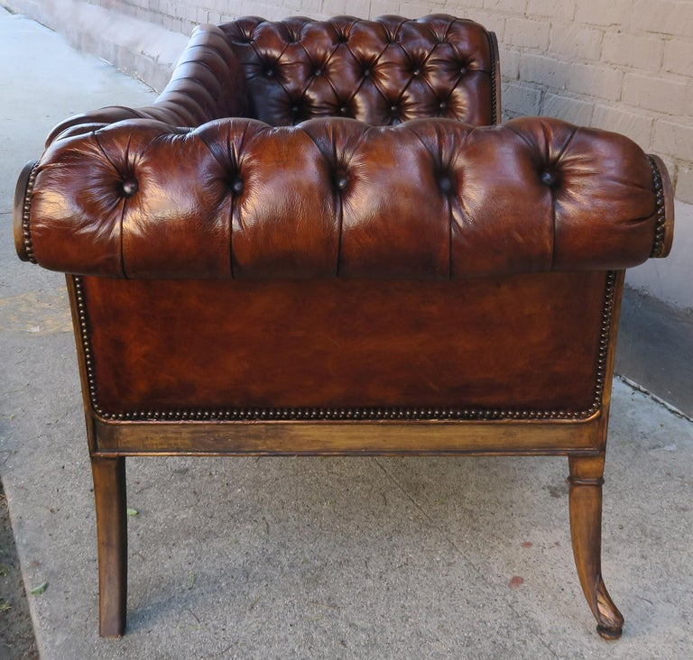 French Regency Style Carved Leather Tufted Sofa, circa 1920s For Sale 1