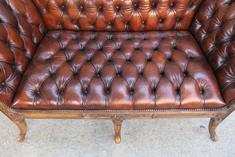 French Regency Style Carved Leather Tufted Sofa, circa 1920s For Sale 3