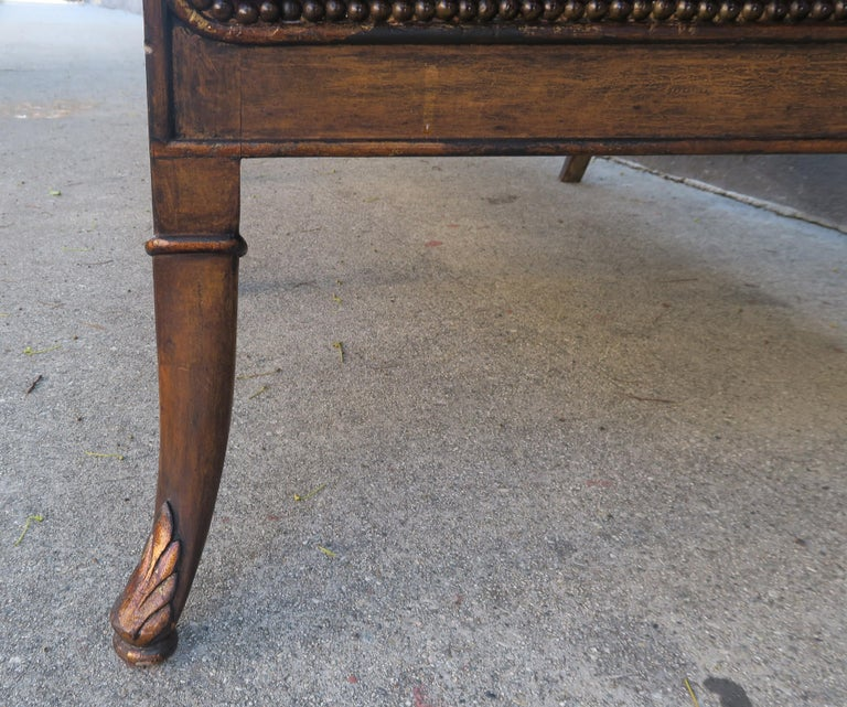 French Regency Style Carved Leather Tufted Sofa, circa 1920s For Sale 4