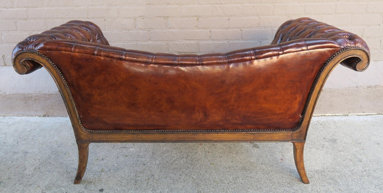 French Regency Style Carved Leather Tufted Sofa, circa 1920s For Sale 5