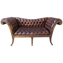 French Regency Style Carved Leather Tufted Sofa, circa 1920s