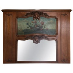 French Regency-Style Cherry Trumeau with Original Oil Painting
