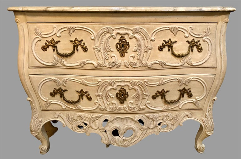 Rococo French Regency Style Commode / Dresser / Chest Faux Marble Top by Maison Jansen For Sale