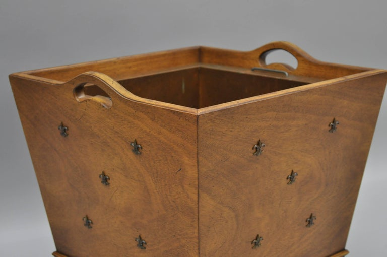 American French Regency Style Walnut and Brass Fleur de Lis Wastebasket or Planter For Sale