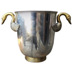 French Regency Swan Neck Handle Bronze & Silver Champagne Ice Bucket Wine Holder