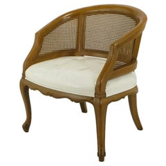 French Regency Walnut & White Leather Cane Back Chair