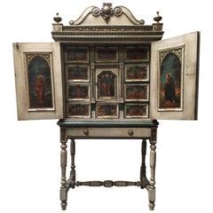 French Religious Vargueno Cabinet on Stand, 18th-19th Century