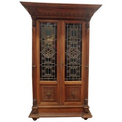 French Renaissance Bookcase circa 1840 Paris with Stain Glass
