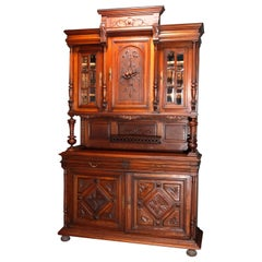 French Renaissance Carved Walnut and Beveled Glass Hunt Cupboard, circa 1890