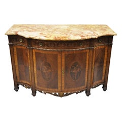 French Renaissance Louis XV Marble Top Marquetry Inlay Serpentine Buffet Commode