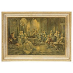 French Renaissance Music Scene Painting in Gilded Frame