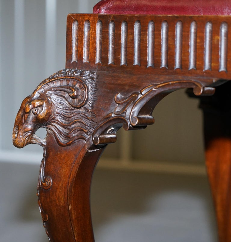 French Renaissance Revival 19th Century Rams Head Carved Bench Stool Window Seat For Sale 5