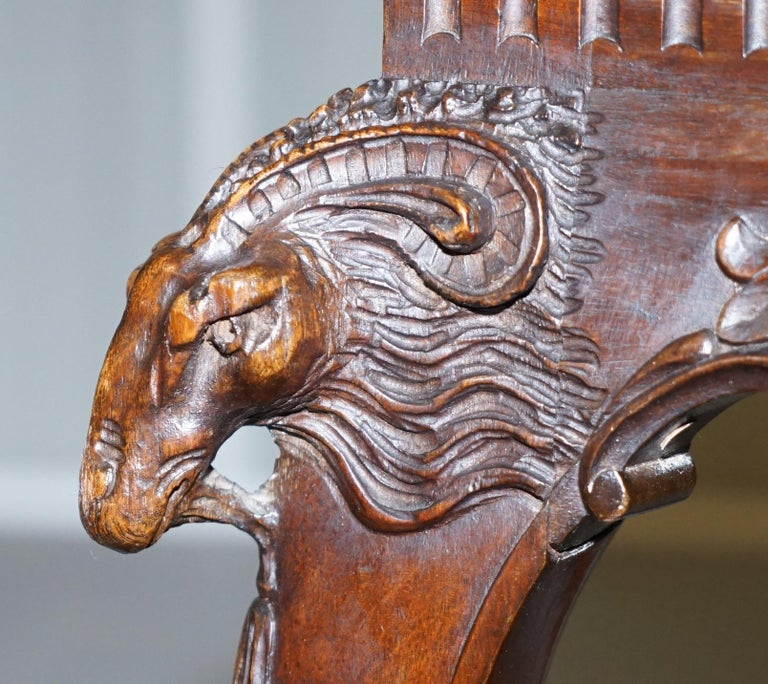 French Renaissance Revival 19th Century Rams Head Carved Bench Stool Window Seat For Sale 6
