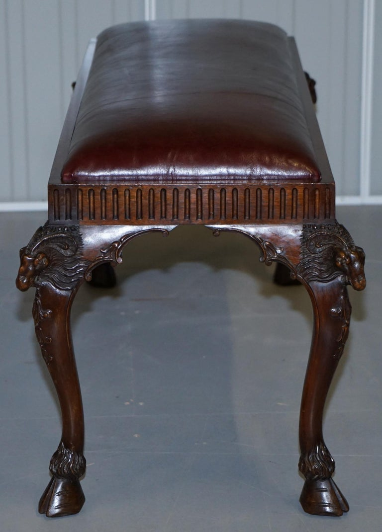 French Renaissance Revival 19th Century Rams Head Carved Bench Stool Window Seat For Sale 7