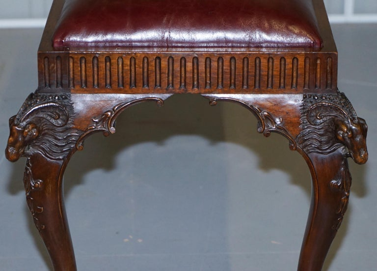 French Renaissance Revival 19th Century Rams Head Carved Bench Stool Window Seat For Sale 8