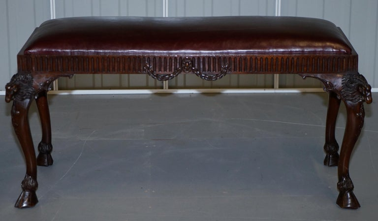 French Renaissance Revival 19th Century Rams Head Carved Bench Stool Window Seat For Sale 10