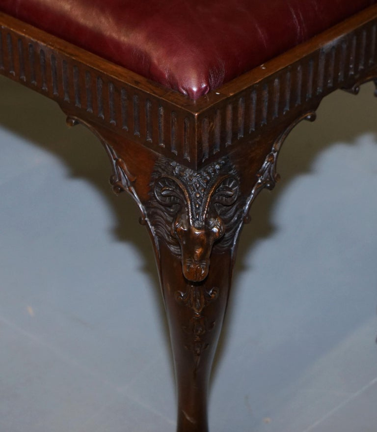 French Renaissance Revival 19th Century Rams Head Carved Bench Stool Window Seat For Sale 12