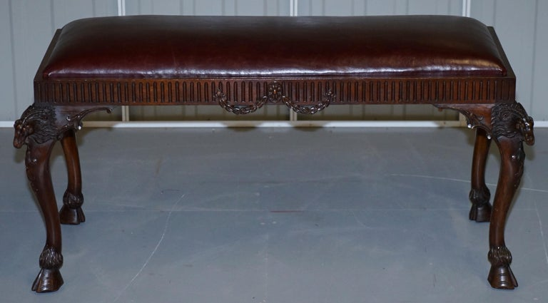 Wimbledon-Furniture  Wimbledon-Furniture is delighted to offer for sale this stunning lightly restored period French Renaissance Revival Rams head circa 19th century mahogany window seat with new heritage oxblood leather upholstery  Please note