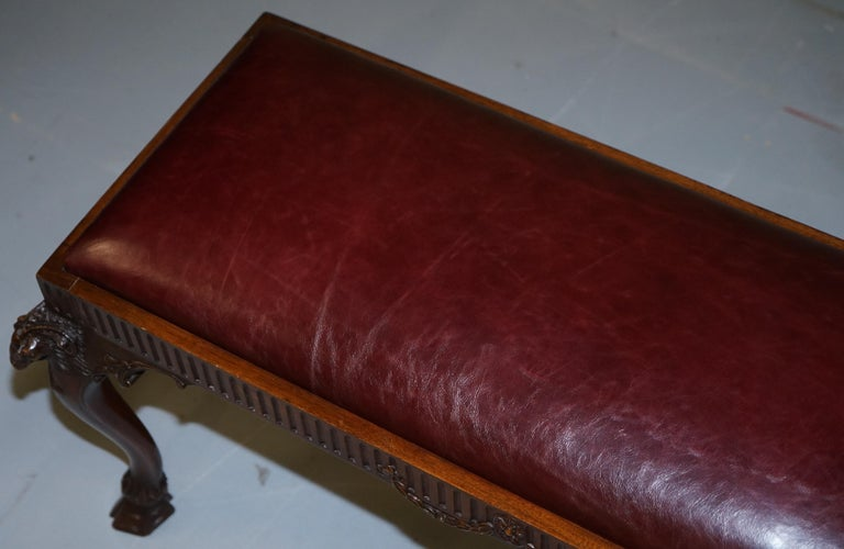 Leather French Renaissance Revival 19th Century Rams Head Carved Bench Stool Window Seat For Sale