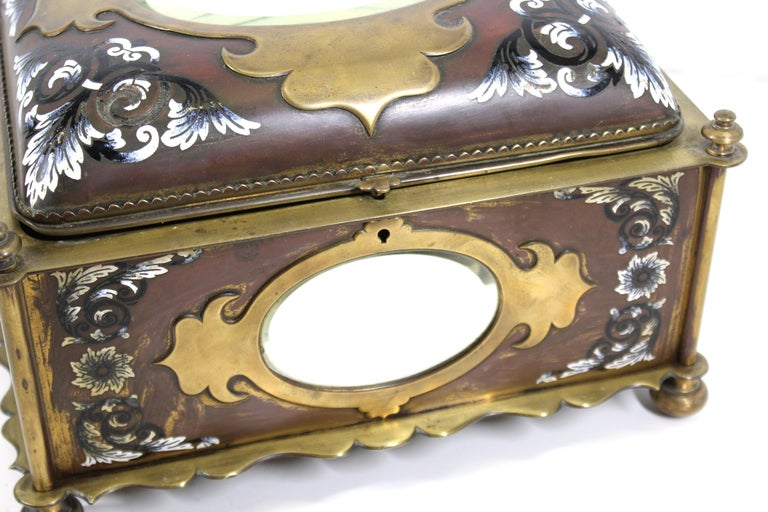 French Renaissance Revival Champleve Enamel Jewelry Box with Oval Mirror Inserts For Sale 5