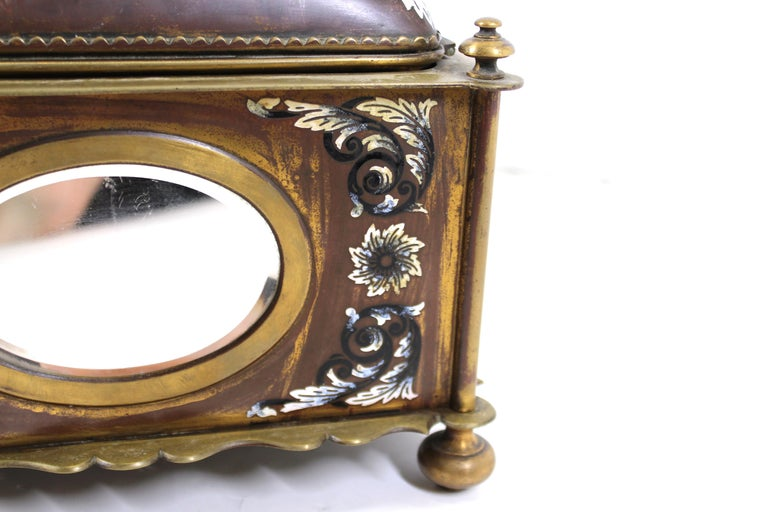 French Renaissance Revival Champleve Enamel Jewelry Box with Oval Mirror Inserts For Sale 7