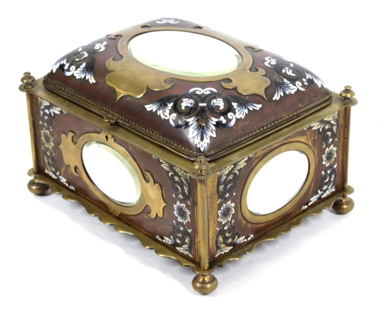French Renaissance Revival Champleve Enamel Jewelry Box with Oval Mirror Inserts In Good Condition For Sale In New York, NY