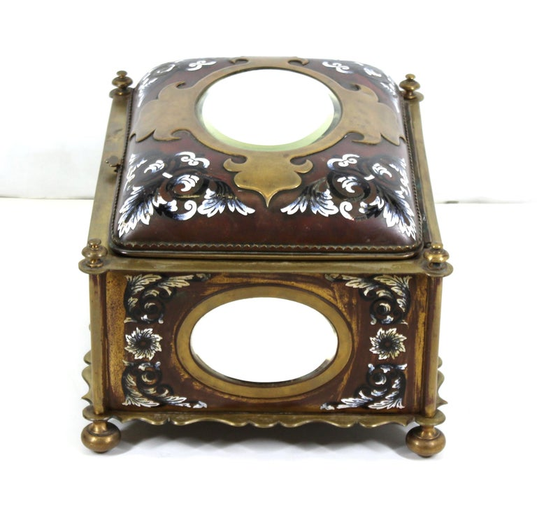 19th Century French Renaissance Revival Champleve Enamel Jewelry Box with Oval Mirror Inserts For Sale