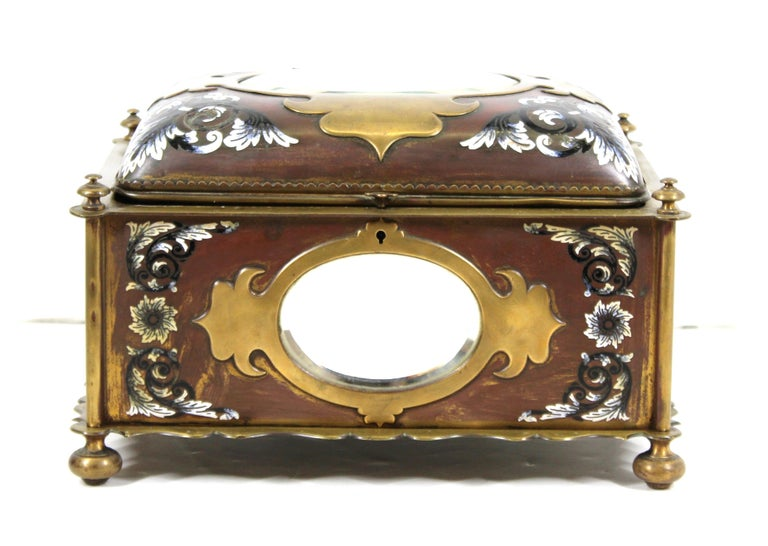 Bronze French Renaissance Revival Champleve Enamel Jewelry Box with Oval Mirror Inserts For Sale