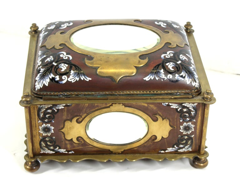 French Renaissance Revival Champleve Enamel Jewelry Box with Oval Mirror Inserts For Sale 2