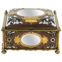 French Renaissance Revival Champleve Enamel Jewelry Box with Oval Mirror Inserts