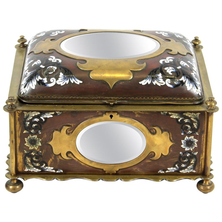 French Renaissance Revival Champleve Enamel Jewelry Box with Oval Mirror Inserts For Sale