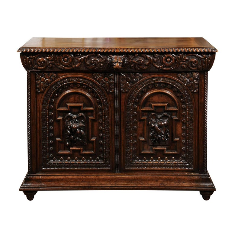 French Renaissance Revival Richly Carved Two-Door Credenza from the 1850s