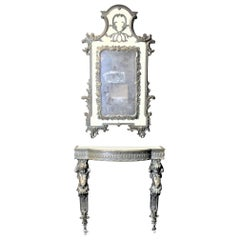 French Renaissance Revival Styled Console Table & Mirror with Brass Cherub Legs