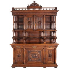 French Renaissance Revival Walnut Buffet Deux Corps