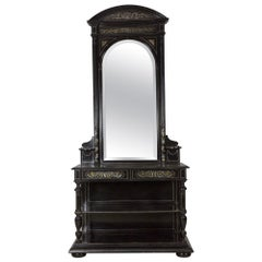French Renaissance Style 19th Century Inlaid Mirrored Hall Table