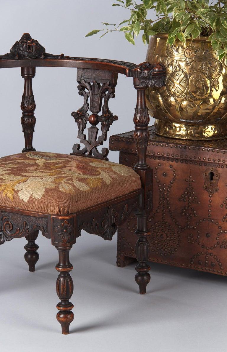French Renaissance Style Carved Walnut Corner Armchair ...