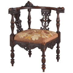 French Renaissance Style Carved Walnut Corner Armchair, Late 1800s
