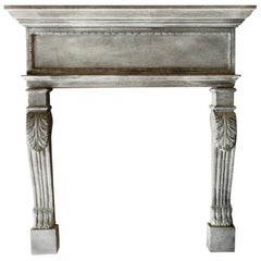 """French Renaissance Style Fireplace in Limestone Dit """"a Cadre"""" Acanthus, France"""