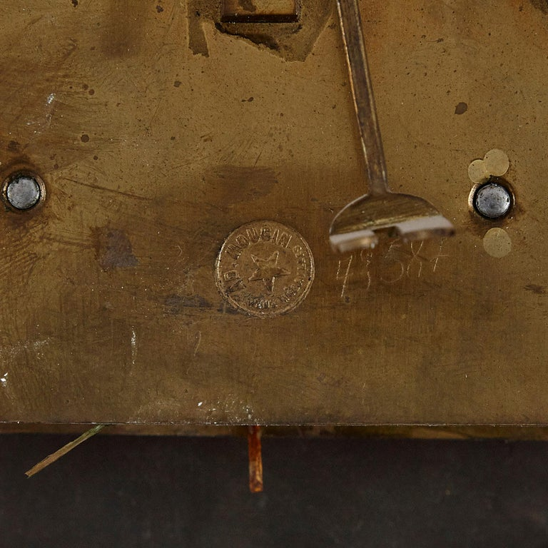 French Renaissance Style Gilt Bronze and Enamel Mounted Onyx Longcase Clock For Sale 3