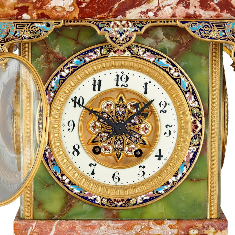French Renaissance style gilt bronze and enamel mounted onyx longcase clock French, late 19th century Measures: Height 126cm, width 37cm, depth 30cm  This colourful longcase clock was created in France in the late 19th Century. It has been