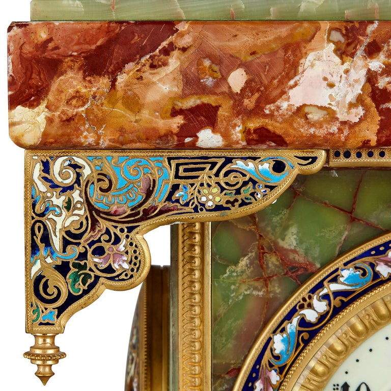19th Century French Renaissance Style Gilt Bronze and Enamel Mounted Onyx Longcase Clock For Sale