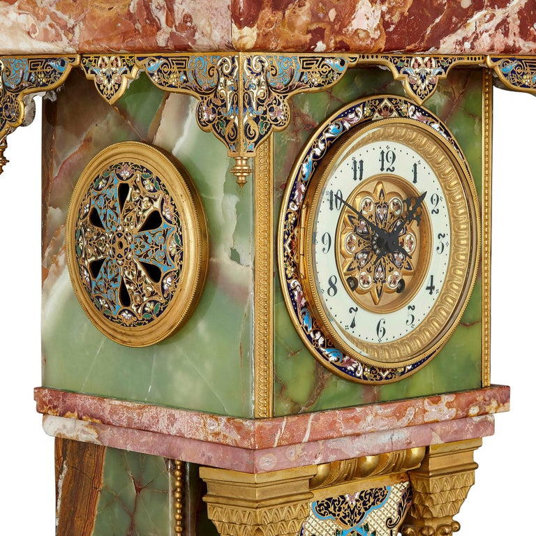 Ormolu French Renaissance Style Gilt Bronze and Enamel Mounted Onyx Longcase Clock For Sale
