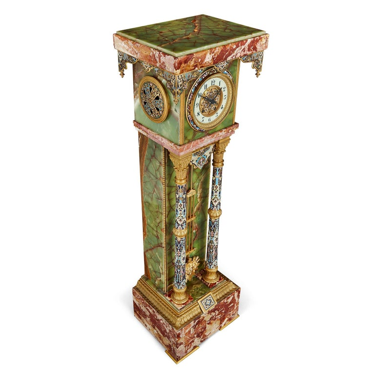 French Renaissance Style Gilt Bronze and Enamel Mounted Onyx Longcase Clock For Sale 1