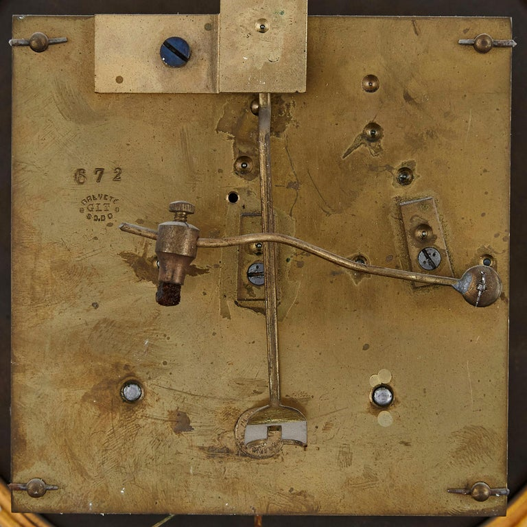 French Renaissance Style Gilt Bronze and Enamel Mounted Onyx Longcase Clock For Sale 2
