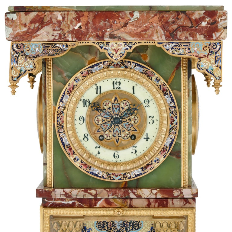 Cloissoné French Renaissance Style Gilt Bronze and Enamel Mounted Onyx Standing Clock For Sale