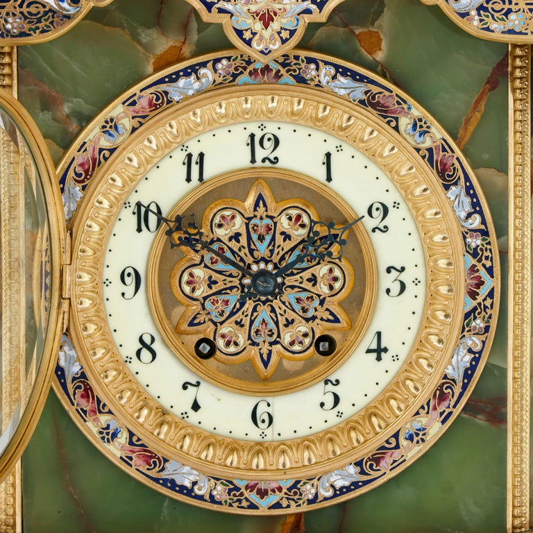 French Renaissance Style Gilt Bronze and Enamel Mounted Onyx Standing Clock In Good Condition For Sale In London, GB