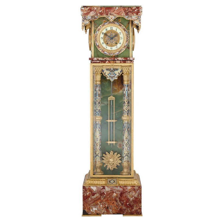 French Renaissance Style Gilt Bronze and Enamel Mounted Onyx Standing Clock For Sale