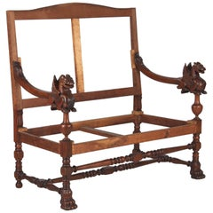 French Renaissance Style Settee Frame with Winged Gryphons, 1830s