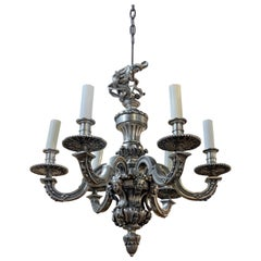 French Renaissance Style Silvered Bronze 6-Light Chandelier